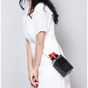 Acrylic Black Lipstick Shape Evening Bags/Clutch